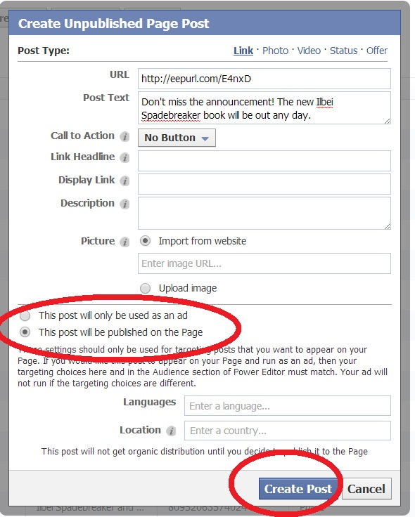 9 - Pick Page Post and Create Ad